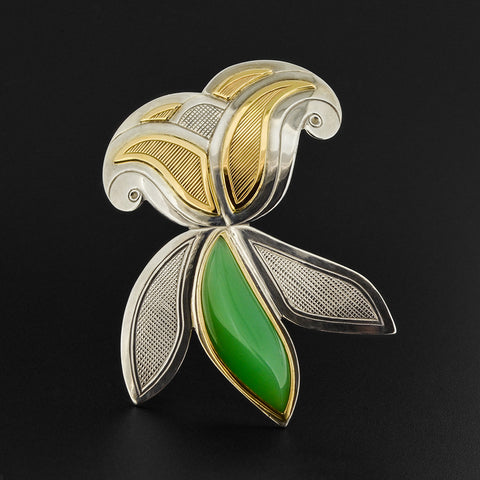 Floral - Silver Brooch with 14k Gold