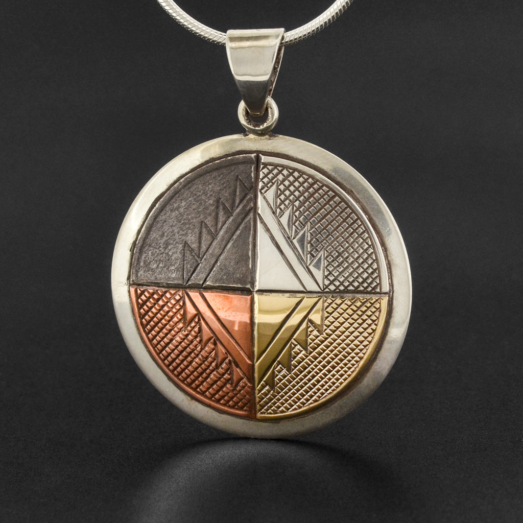 Medicine Wheel - Silver Pendant with Copper and Gold