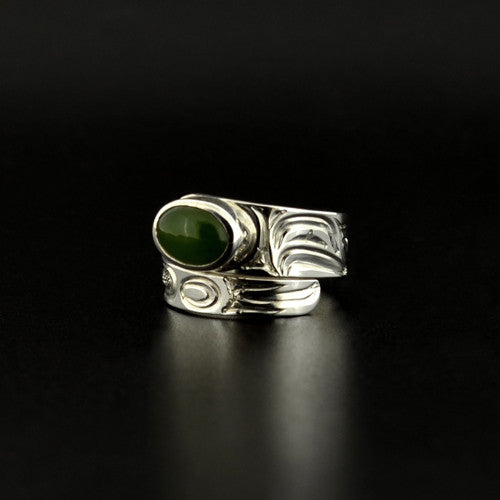 Eagle - Silver Wrap Ring with BC Jade