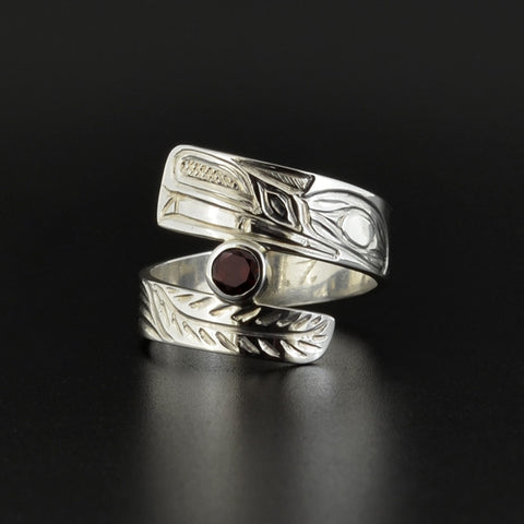 Wolf - Silver Wrap Ring with Garnet
