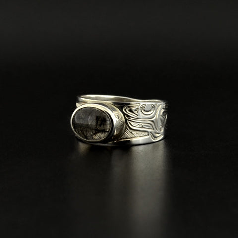 Killerwhale - Silver Ring with Rutilated Quartz