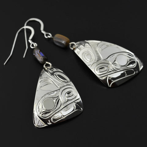 Bears - Silver Earrings with Abalone