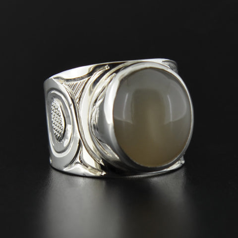 Eagle - Silver Ring with Grey Moonstone