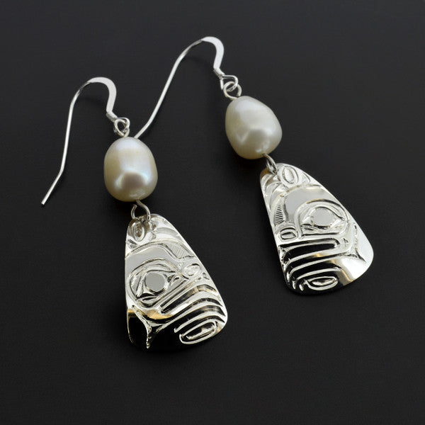Frog - Silver Earrings with Freshwater Pearl
