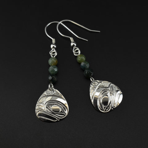 Frog - Silver Earrings with BC Jade