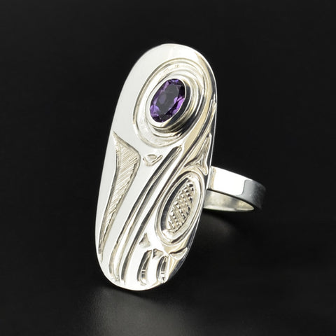 Hummingbird - Silver Ring with Amethyst