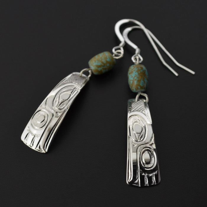 Hummingbird - Silver Earrings with Turquoise