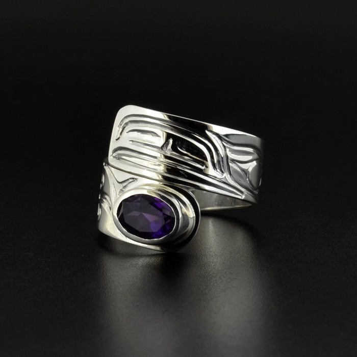 Raven - Silver Wrap Ring with Amethyst