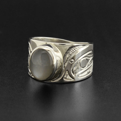 Thunderbird and Killerwhale - Silver Ring with Grey Moonstone