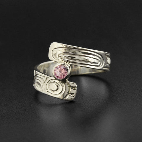 Hummingbird - Silver Ring with Rose Quartz