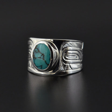 Wolves - Silver Ring with Turquoise