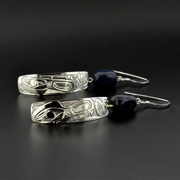 Wolf - Silver Earrings with Lapis