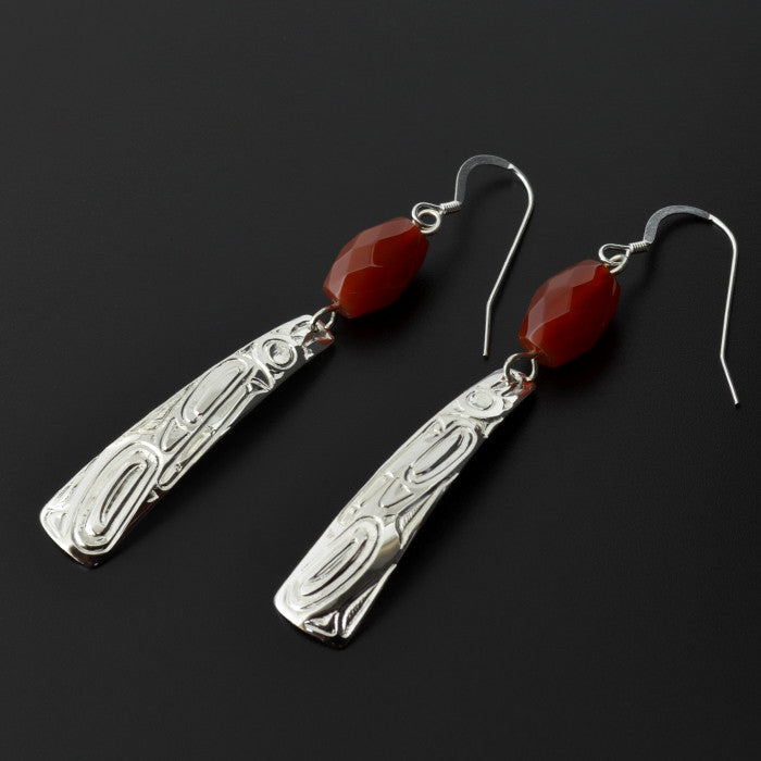 Wolf - Silver Earrings with Carnelian
