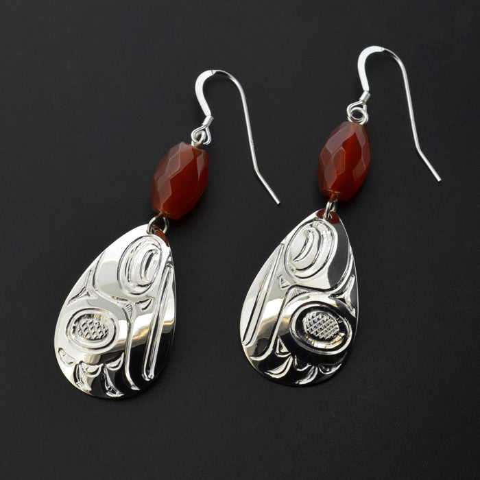 Hummingbird - Silver Earrings with Carnelian
