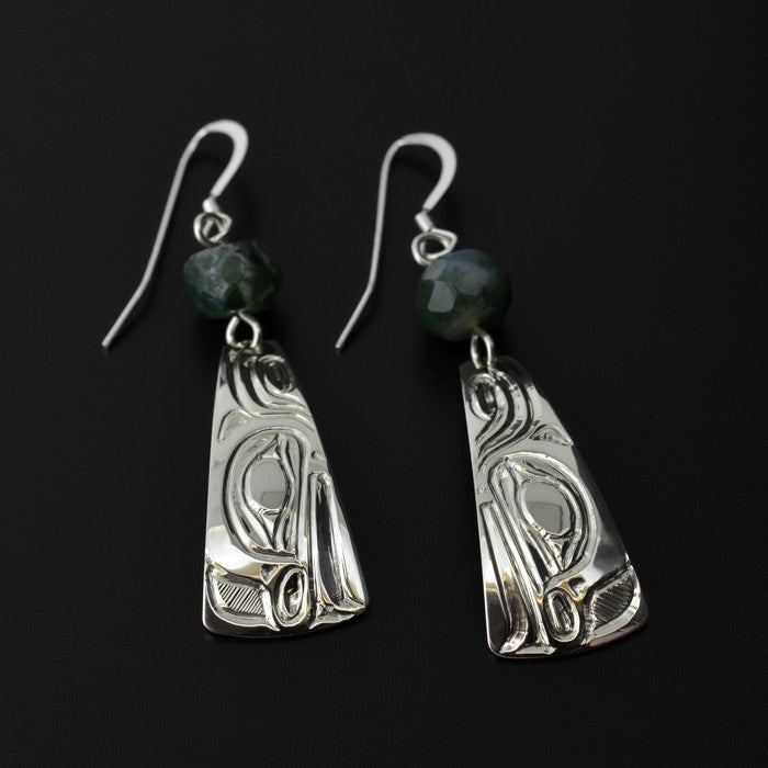 Frog - Silver Earrings with Green Moss Agate