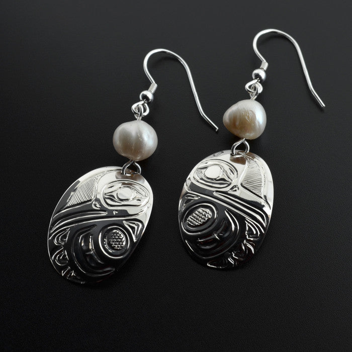 Hummingbirds - Silver Earrings with Freshwater Pearl