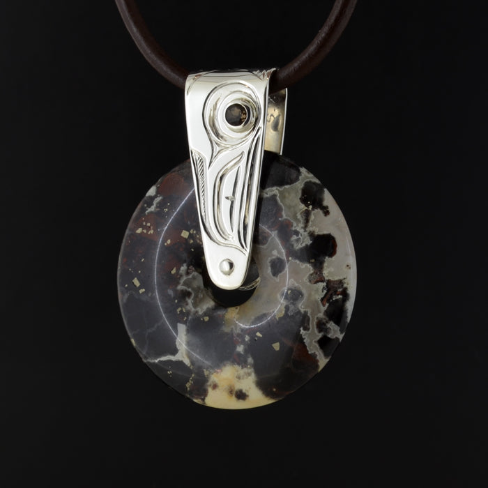 Raven - Silver and Agate Pendant