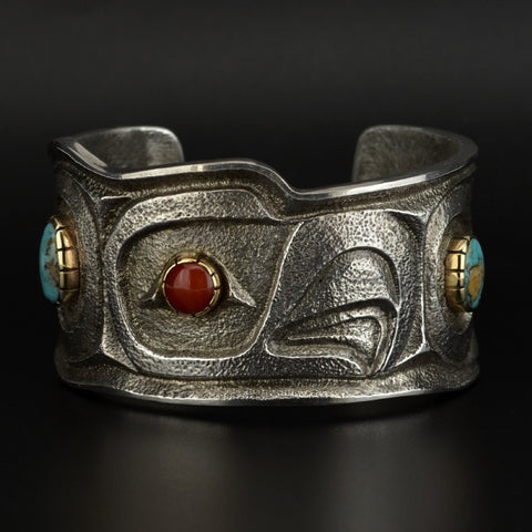 Eagle - Silver Bracelet with 14k Gold, Turquoise and Carnelian