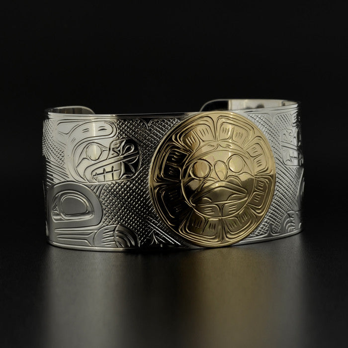 Bears and Sun - Silver Bracelet with 14k Gold