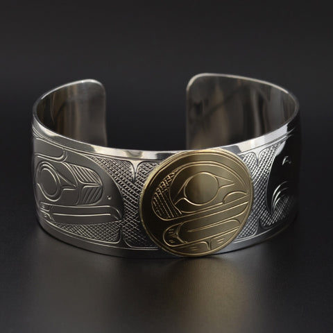 Raven, Eagle and the Moon - Silver Bracelet with 14k Gold Overlay
