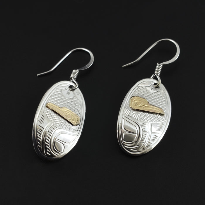Hummingbird - Silver Earrings with 14k Gold