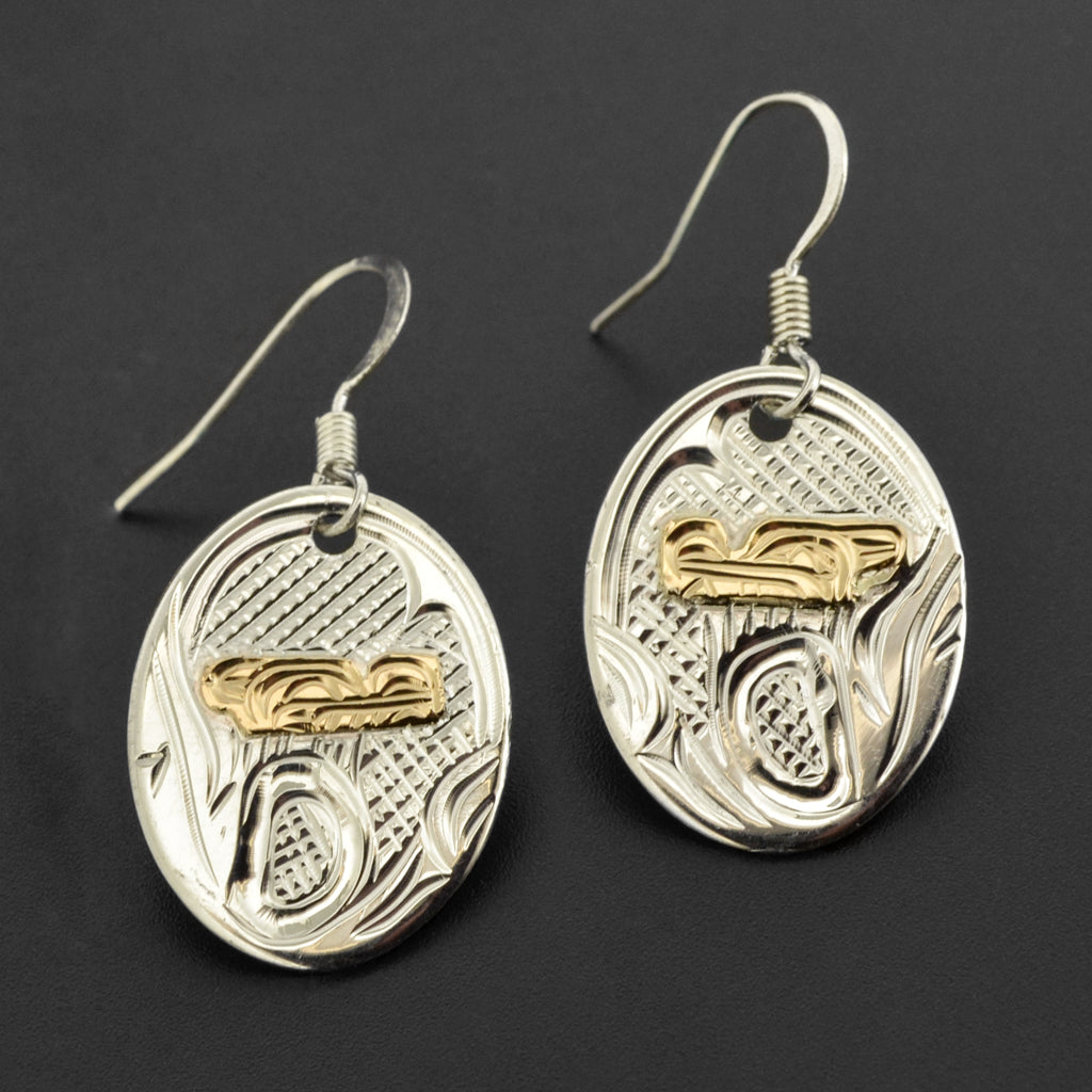 Wolf - Silver Earrings with 14k Gold