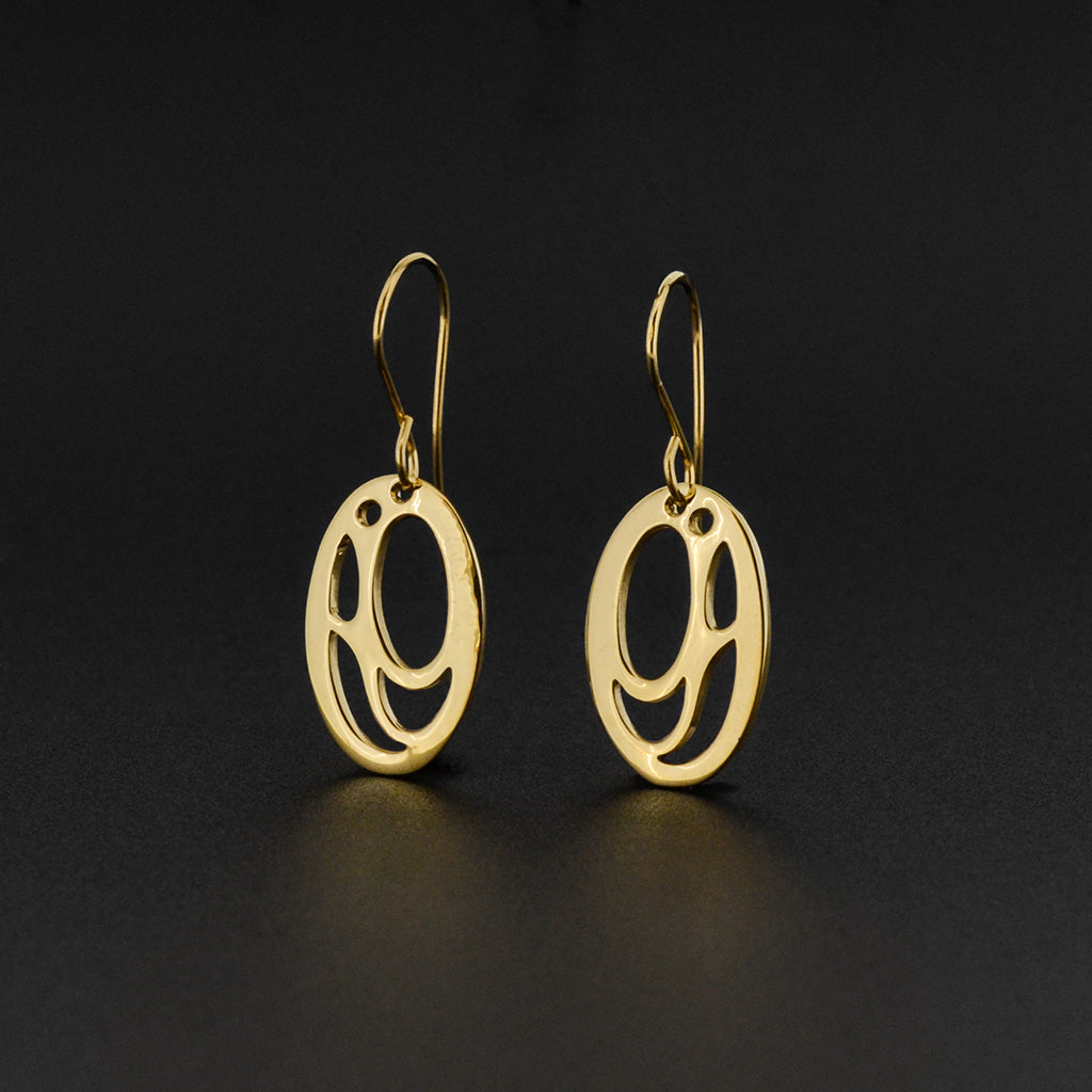 Salmon-Trouthead - 14k Gold Earrings