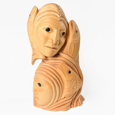 Skeena Sisters - Yellow Cedar Sculpture