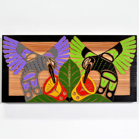 Hummingbirds - Red Cedar Panel
