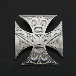 Cross Pattee/Raven - Silver Pendant