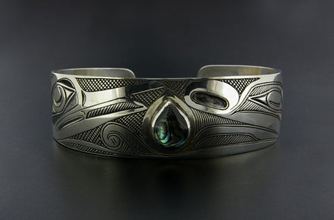 Hummingbird and Flower Spirit - Silver Bracelet