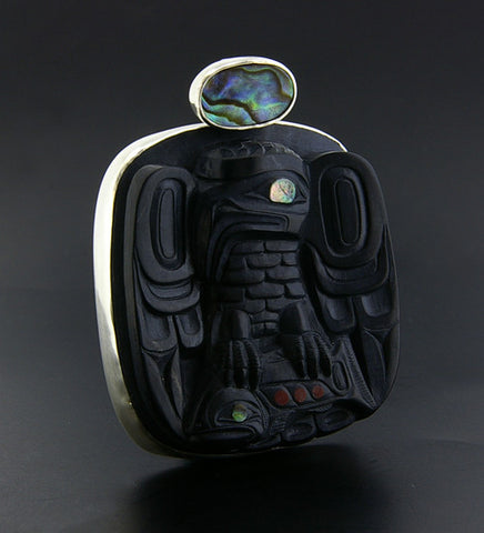 Eagle with Salmon - Argillite and Silver Pendant