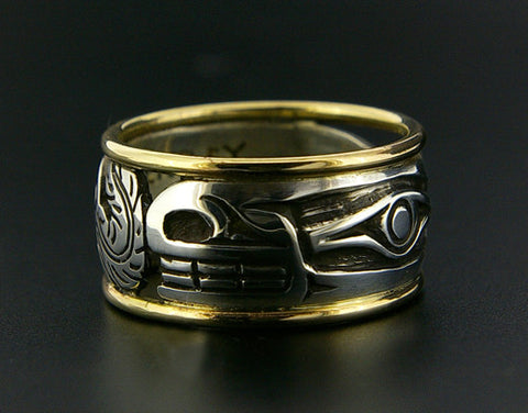 Wolf - Silver Ring with 14k Rails