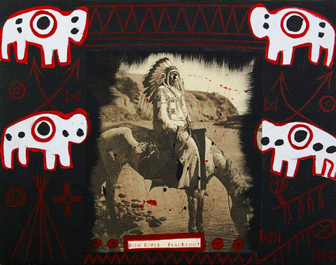 Blackfoot in Red - Acrylic on Canvas
