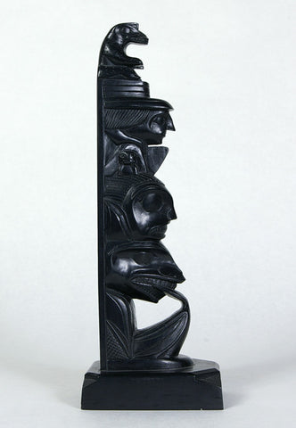 Bear, Humans, Killerwhale - Argillite Pole
