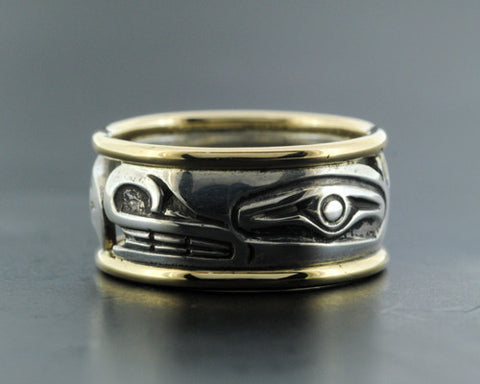 Killerwhale - Silver Ring with 14k Gold Rails