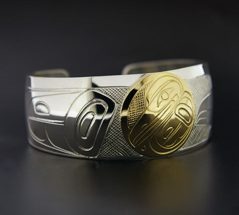 Raven - Sterling Silver Bracelet with 14k Gold