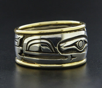 Raven - Silver Ring with 14k Gold Rails