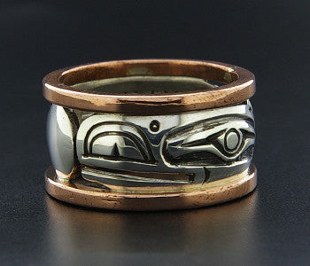 Raven and Light - Silver Ring with Copper Rails