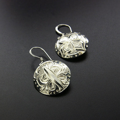Butterfly/Flower - Sterling Silver Earrings