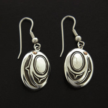 Salmon Head - Silver and Copper Earrings