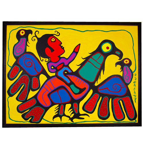 Norval Morrisseau - We Are All One Shaman Riding on An Eagle - Paintings