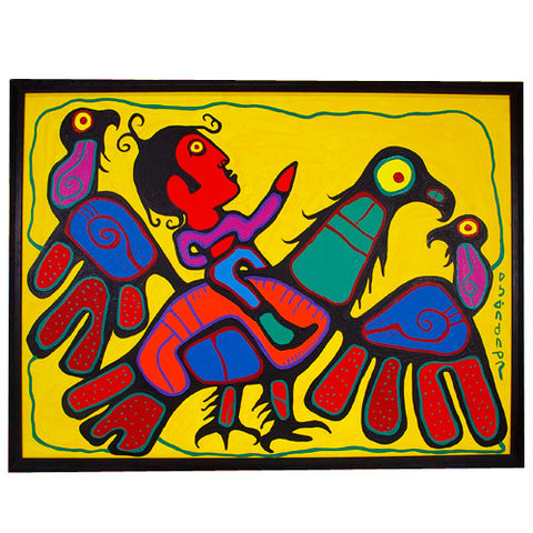 We Are All One Shaman Riding on An Eagle - Acrylic on Canvas