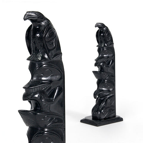 Eagle, Bear with Salmon, Thunderbird with Whale - Argillite Pole