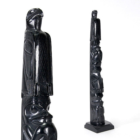 Eagle, Bear, Eagle, Shark, Whale - Argillite Pole