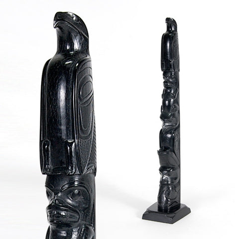 Eagle, Wasco with Whales, Raven with Frog, Whale with Salmon - Argillite Pole