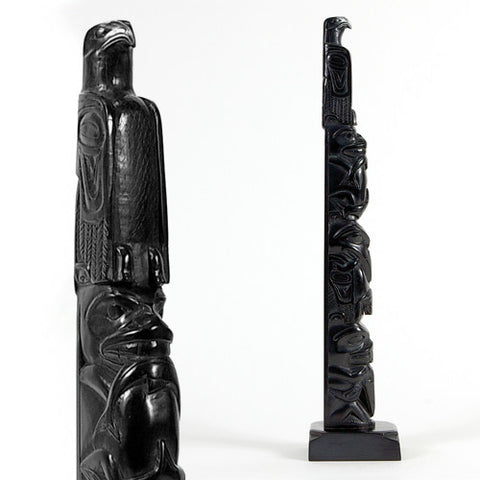 Eagle, Bear with Salmon, Raven with Frog, Beaver with Raven - Argillite Pole