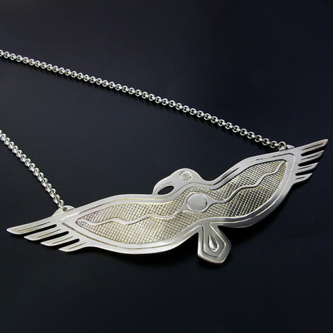 Raven and Sun - Silver Necklace
