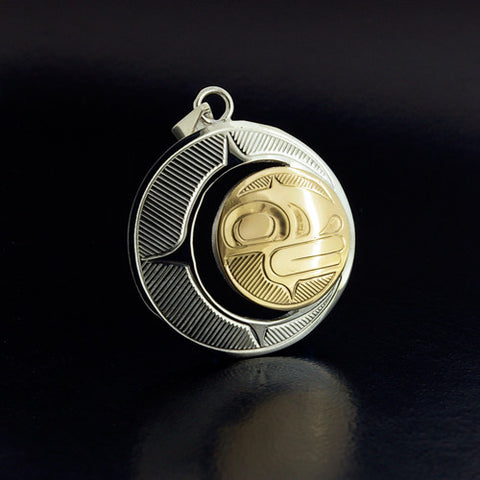 Moon - Silver and 14k Gold Pendant