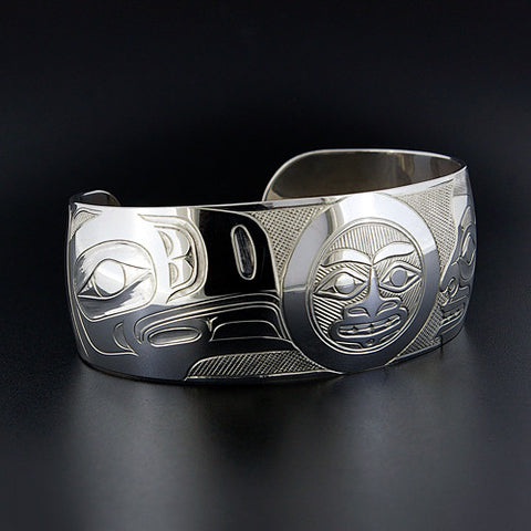 Raven, Moon and Human - Sterling Silver Bracelet